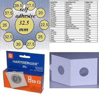 AU5 • Buy 25 HARTBERGER Self Adhesive 2 X 2 Coin Holders:32.5 Mm   Made In The Netherlands