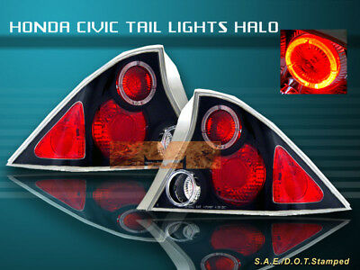 $92.99 • Buy Fit For 01-03 HONDA CIVIC TAIL LIGHTS BLACK HALO 2D 02 LAMPS