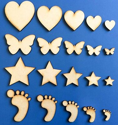 Wooden MDF Shapes Hearts Stars Butterfly Bunting Craft Embellishments Decoration • 0.99£