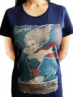£10.99 • Buy Supergirl Bombshell Official DC Comics Superman Justice Blue Womens T-shirt