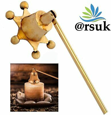£6.99 • Buy Candle Snuffer Brass 25cm Ring Handle Beaded Bell Design Extinguisher Stick