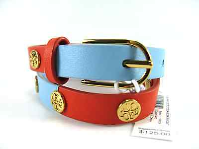 5cac418e090e NWT Tory Burch Leather Double Wrap Logo Stud Color-Block Bracelet Poppy  Red Blue
