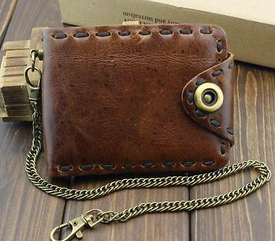 $ CDN27.89 • Buy Vintage Biker Leather Bifold Snap Wallet With Chain For Mens Or Boys