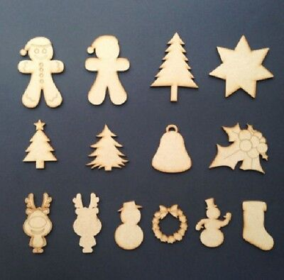 Wooden MDF Christmas Shapes Tree Star Holly Xmas Decoration Plaque Craft Blank • 1.05£