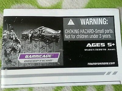 $8.95 • Buy Transformers HUMAN ALLIANCE BARRICADE INSTRUCTION BOOKLET ONLY