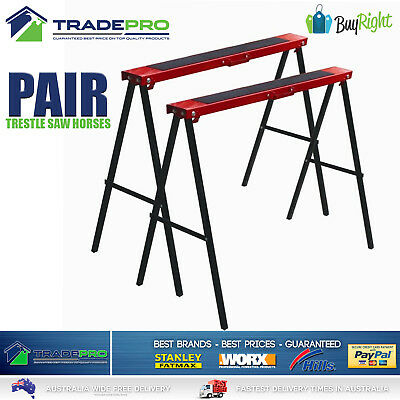 AU69 • Buy Saw Horse 2pc Pair PRO Trestle Steel Foldable Work Bench Stand Support Legs
