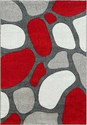 £34.95 • Buy Silver Red Rug Runner Contemporary Pebble Design Soft Textured Pile Grey