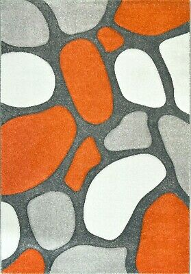 Orange Rug Runner Contemporary Pebble Design Soft Textured Pile Terracotta Grey • 39.95£