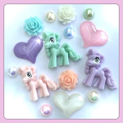 £4.09 • Buy 3 My Little Pony Theme Cabochons, Hearts & Roses Flatbacks For Decoden Crafts