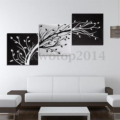 $12.19 • Buy 3Pcs Black And White Tree Picture Paint Canvas Painting Modern Art Wall Decor