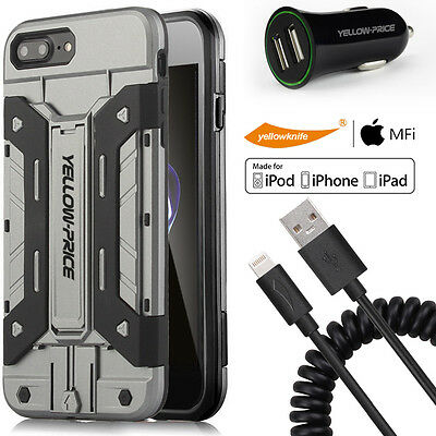 AU33.23 • Buy IPhoneSE/5s/6/6s/7 Plus,Hybrid Armor Case MFI Coiled Cable,3D Full Coverage Film