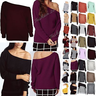 Womens Ladies Off The Shoulder Chunky Knitted Oversized Baggy Sweater Jumper Top • 8.49£