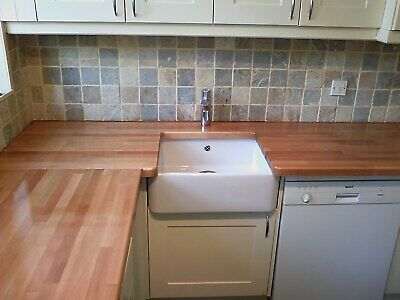 UP TO 10% OFF RUSTIC BEECH REAL SOLID WOOD KITCHEN WORKTOP & ISLANDS 2m 3m 4m  • 98£