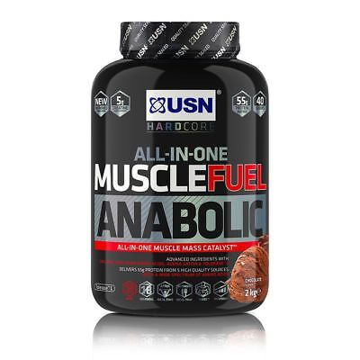 USN Muscle Fuel Anabolic All-In-One Muscle Mass Lean Gainer 2kg Protein Shake • 28.84£