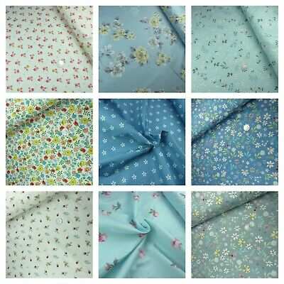 £6.95 • Buy 100% Cotton Floral Fabric Flowers Vintage Dress Craft Sold Per Metre Extra Wide