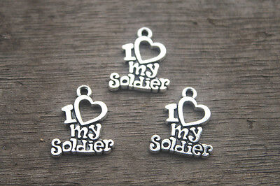 20pcs-- I Love My Soldier Charms  Silver Soldier Charm Pendants 20x17mm • 2.76£