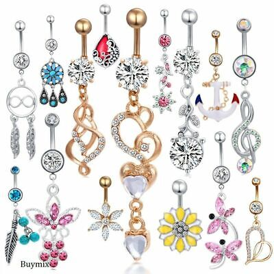 Belly Bars Body Piercing Crystal Gem Drop Reverse Navel Ring Surgical Steel New • 2.99£