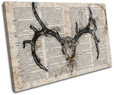 £19.99 • Buy Stag Skull Vintage Book Deer Animals SINGLE CANVAS WALL ART Picture Print
