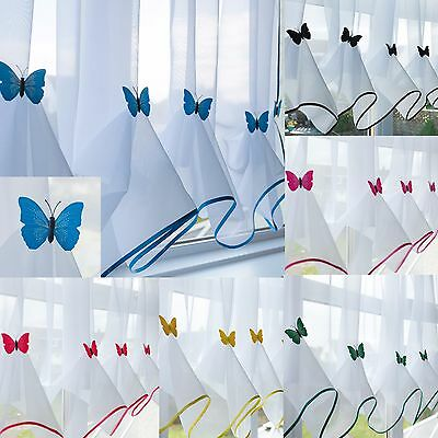 £7.99 • Buy Butterfly Voile Curtain With Matching Piping - Kitchen Blind - Cafe Net Curtains