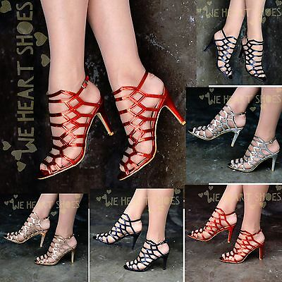 Womens Metallic Heeled Sandals Strappy Caged Gladiator High Heels Shoes Party  • 14.95£