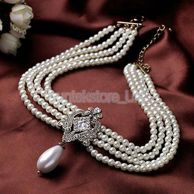 £6.68 • Buy Lady Gold Tone Multi-strand Chain Faux Pearl Cameo Pendant Choker Necklace
