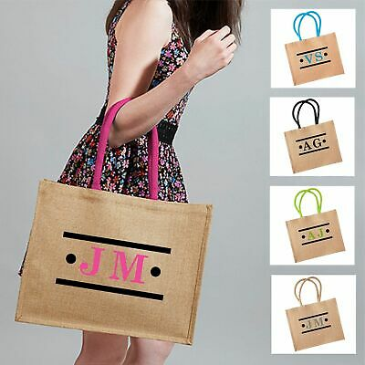 £10.99 • Buy Personalised Initials Stripes And Spots Design Jute Shopping Bag Gift Carrier