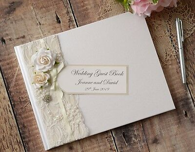 Personalised Wedding Guest Book. Luxury Vintage Style Rose, Lace & Jewel Design. • 32.99£
