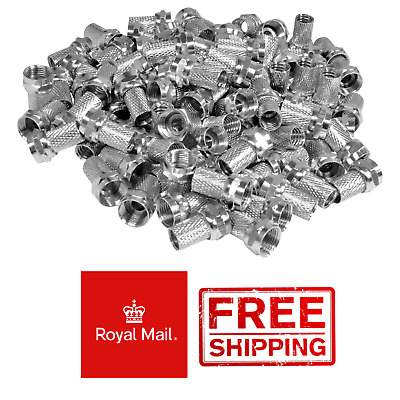 £5.95 • Buy 50 X Screw Twist On F Connectors To Fit Satellite TV Aerial Coax Coaxial Cable