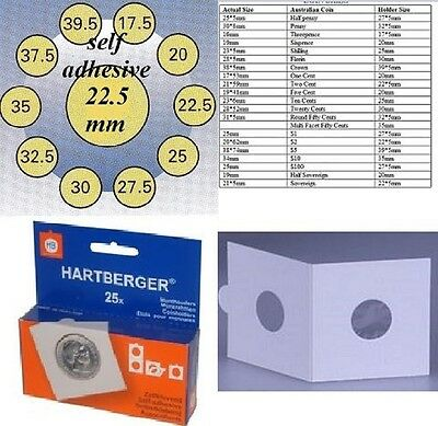 AU5 • Buy 25 HARTBERGER Self Adhesive 2 X 2 Coin Holders:22.5 Mm   Made In The Netherlands