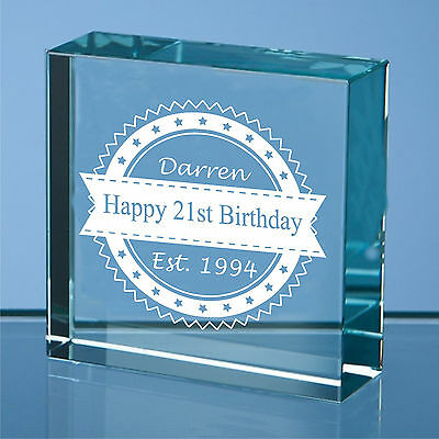 Personalised Engraved Glass Block Birthday Gift, 65th 70th 75th  Birthday Gift • 10.99£