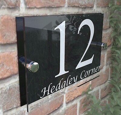 Contemporary HOUSE SIGN / PLAQUE / DOOR / NUMBERS / GLASS EFFECT ACRYLIC • 6.99£