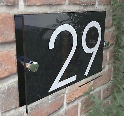 £8.99 • Buy Modern HOUSE SIGN / PLAQUE / DOOR / NUMBERS / GLASS EFFECT ACRYLIC / Wall Signs