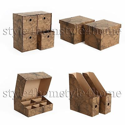 BEAUTIFUL Decorative DRAWER Storage BOXES Home ORGANISER GIFT Box Case OLD MAP • 7.87£
