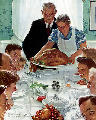 $ CDN19.10 • Buy Vintage Norman Rockwell Thanksgiving Painting 8x10 Real Canvas Art Print