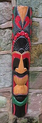 Tiki Mask Wall Hanging Hand Painted Carved Wall Mask 100cm • 22.99£