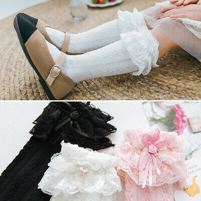 Girls Babys Toddlers Frilly Vintage Knee High Wedding School Socks 9 Mon- 8 Yrs • 3.38£