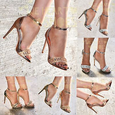 £18.95 • Buy Ladies Diamante High Heel Evening Shoes Ankle Strap Open Toe Sandals Party Shoes