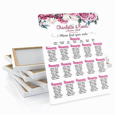 £42.99 • Buy Personalised Rose Flower Wedding Table / Seating Plan Large A1 A2 A3
