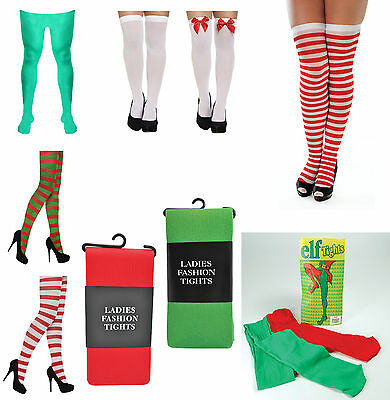 Mens Ladies Girls Teen Elf Xmas Christmas Tights Stockings Fancy Dress Costume • 2.49£