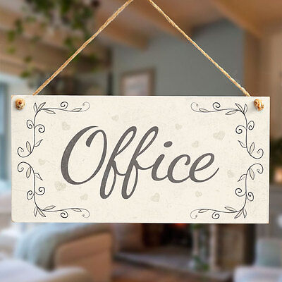 £6.99 • Buy Office - Handmade Shabby Chic Style Door Sign / Plaque For Home Office Study