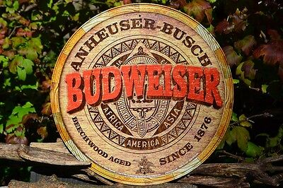 $ CDN23.74 • Buy Budweiser Barrel Tin Metal Sign - Anheuser Busch - Bud Beer Keg - Beechwood Aged