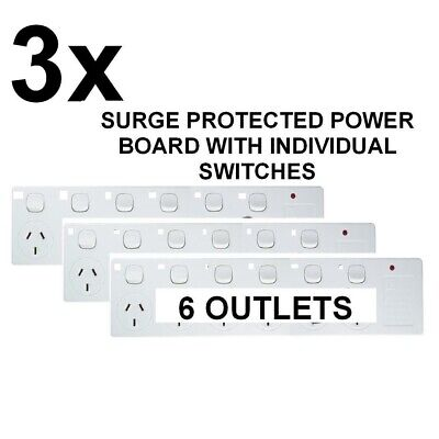 AU59.88 • Buy 3 X New 6 Way Surge Protector Power Board With Individual Switches - 6 Outlet