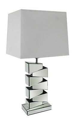 £69.99 • Buy Stunning Modern Mirrored Living Area Bedside Table Lamp With White Shade New