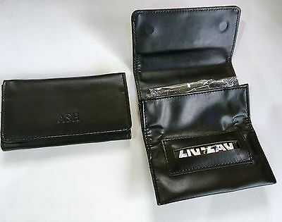 Black Tobacco Pouch FAUX Leather Fully Lined Rolling Paper Slot COMPACT STYLE • 4.95£