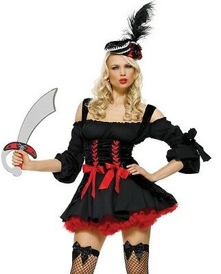 Sexy Pirate Wench Costume, Leg Avenue, Swashbuckler, Bucanneer, Captain Booty • 9.99£