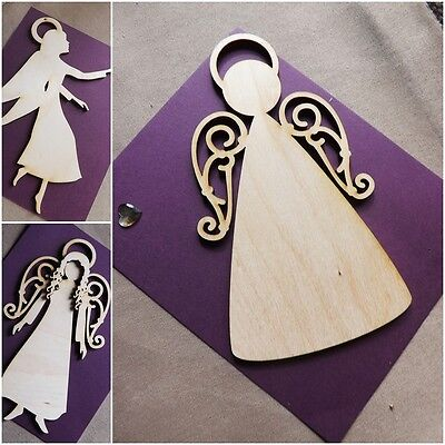 Wooden Scrapbook Die Cut-out MDF Large Craft Christmas Xmas Angels 3mm Thick • 2.99£