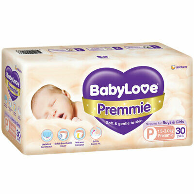 AU14.99 • Buy Babylove Premmie Nappies 30 Pack