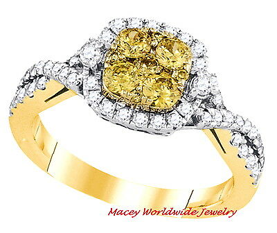 14K Yellow Gold Gorgeous Canary Yellow Diamond  Bridal Engagement Ring 1Ct • 858.42£