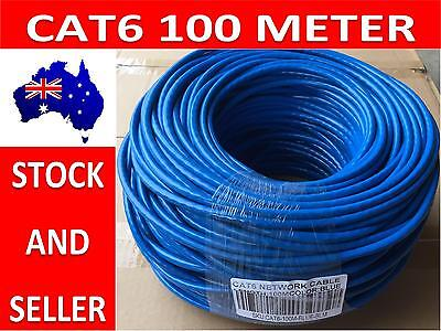 AU39.89 • Buy Blue 100M CAT6 Network Ethernet LAN Cable Roll UTP Solid Core Free Shipping