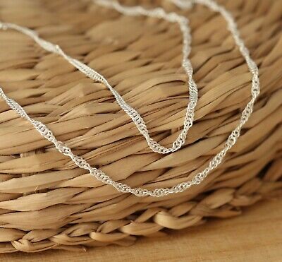 925 Sterling Silver 1.5mm SINGAPORE Chain Necklace Various Lengths Solid Genuine • 5.59£